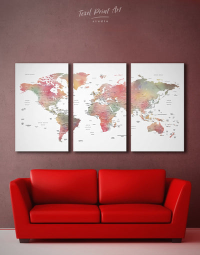 3 Panels Push Pin Travel Map Wall Art Canvas Print - 3 Panels bedroom contemporary wall art map of the world labeled modern wall art