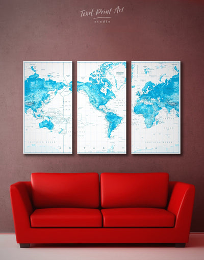 3 Panels Pushpin Blue World Map Wall Art Canvas Print - 3 Panels bedroom Blue blue and white Blue Wall Art