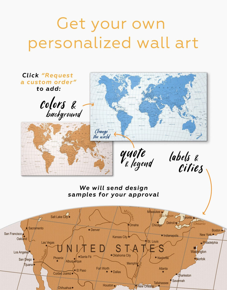 3 Panels Pushpin Travel Map Wall Art Canvas Print - 3 Panels bedroom contemporary wall art Gilded world map wall art Gold