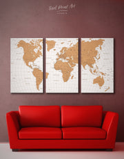 3 Panels Pushpin Travel Map Wall Art Canvas Print