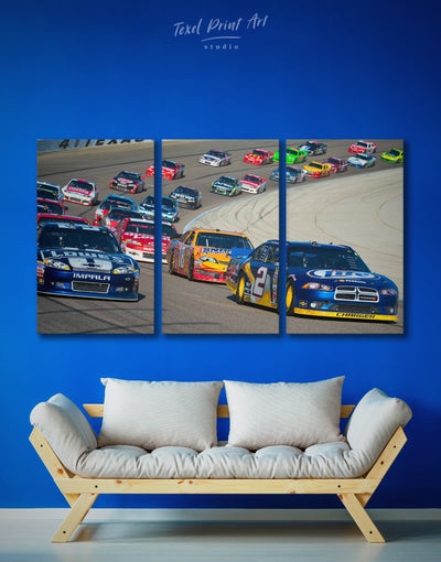 3 Panels Racing Wall Art Canvas Print - 3 Panels bachelor pad bedroom Car Grey