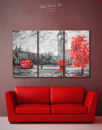 3 Panels Rainy London Wall Art Canvas Print - 3 Panels bedroom Contemporary contemporary wall art Living Room