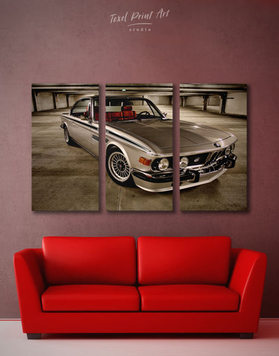 3 Panels Retro BMW Wall Art Canvas Print - 3 Panels bachelor pad Car garage wall art Hallway
