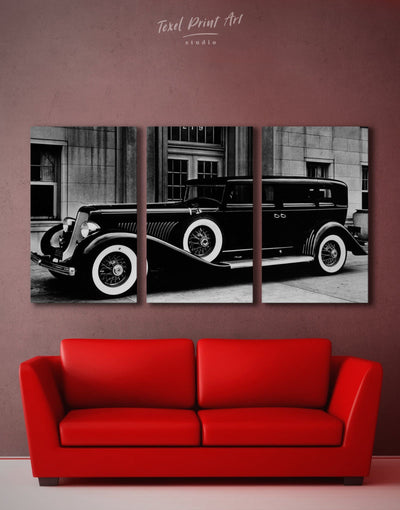 3 Panels Retro Car Wall Art Canvas Print - 3 Panels black black and white car garage wall art