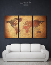 3 Panels Rustic World Map Wall Art Canvas Print