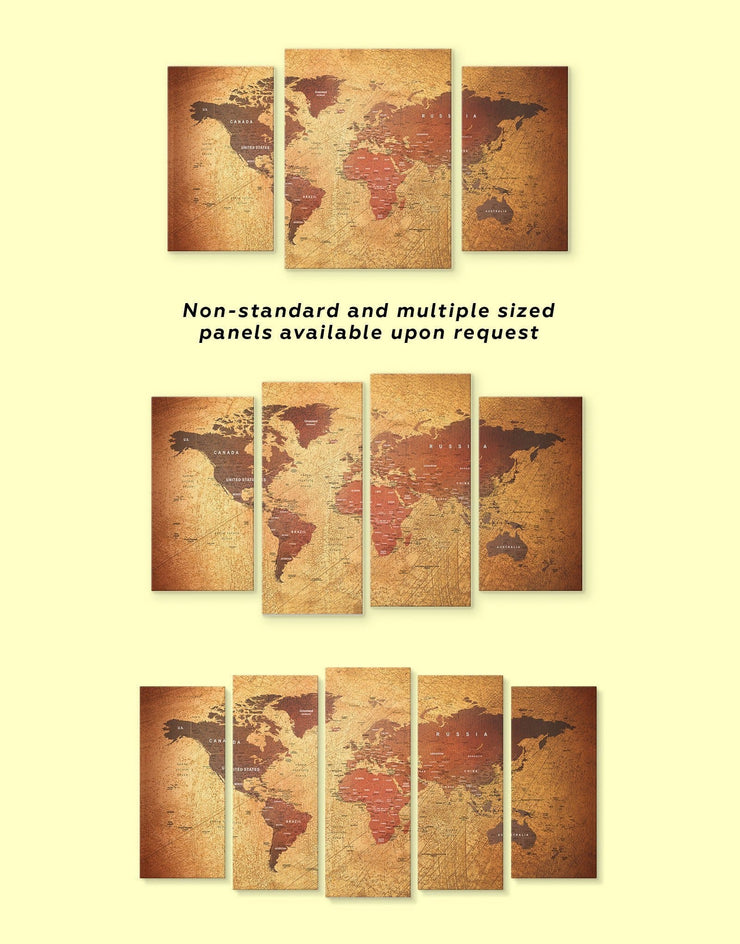 3 Panels Rustic World Map Wall Art Canvas Print - 3 Panels bedroom Brown Living Room Rustic