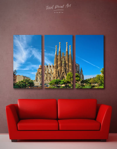 3 Panels Sagrada Familia Print Canvas - Canvas Wall Art 3 Panels bedroom Blue City Skyline Wall Art Cityscape