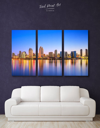 3 Panels San Diego Wall Art Canvas Print - 3 Panels bedroom City Skyline Wall Art Cityscape dining room wall art