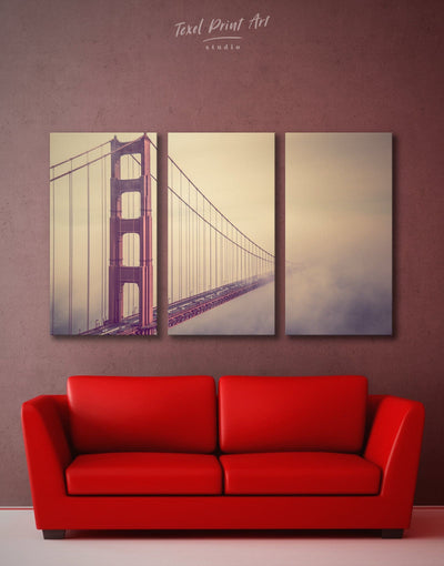 3 Panels San Francisco Wall Art Canvas Print - 3 Panels bedroom Bridge Golden Gate bridge wall art Living Room