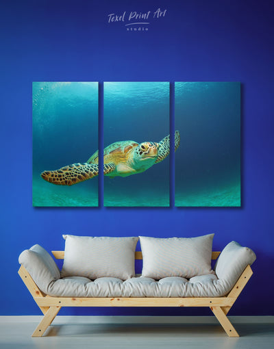 3 Panels Sea Turtle Wall Art Canvas Print - 3 Panels Animal Blue Living Room ocean wall art