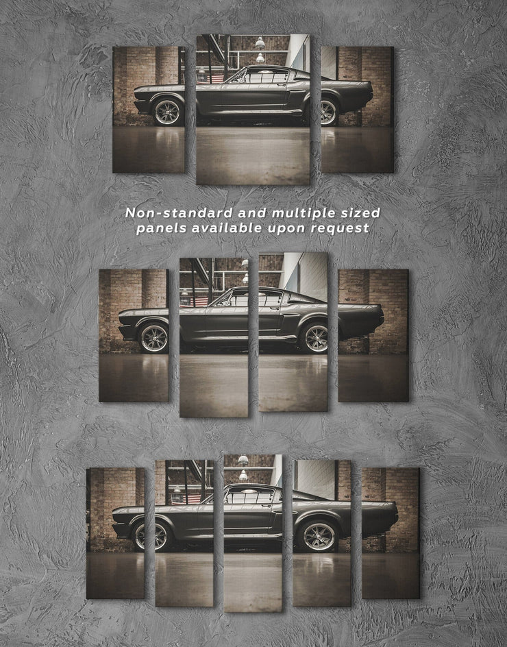 3 Panels Shiny Ford Mustang GT 500 Car Wall Art Canvas Print - 3 Panels bachelor pad bedroom Black Brown