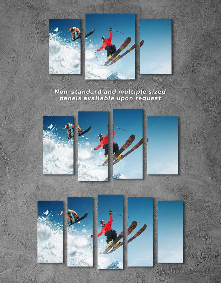 3 Panels Skiing Canvas Prints Wall Art - Canvas Wall Art 3 Panels bachelor pad Hallway inspirational wall art Living Room