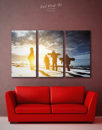 3 Panels Snowboarding Wall Art Canvas Print - 3 Panels inspirational wall art Motivational Nature snowboarding wall art