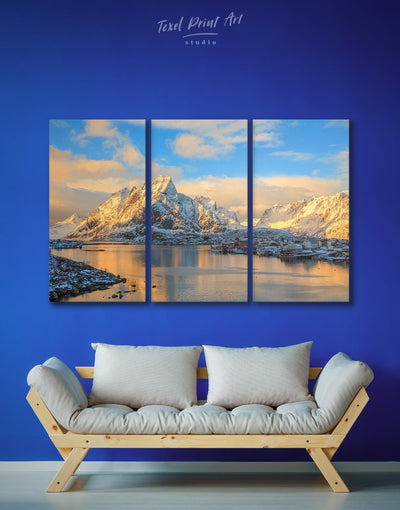 3 Panels Snowy Mountains Wall Art Canvas Print - 3 Panels Living Room mountain wall art Nature Office Wall Art