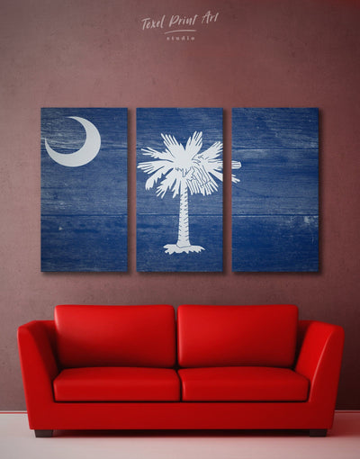 3 Panels South Carolina State Flag Wall Art Canvas Print - 3 Panels blue flag wall art Hallway Living Room