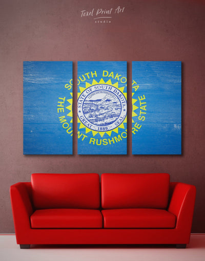 3 Panels South Dakota Flag Wall Art Canvas Print - 3 Panels blue flag wall art Hallway Living Room