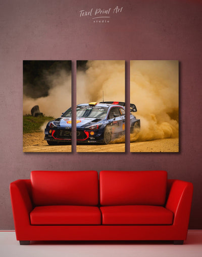 3 Panels Speedy Hyundai i20 WRC Wall Art Canvas Print - 3 Panels bachelor pad Car garage wall art wall art for men