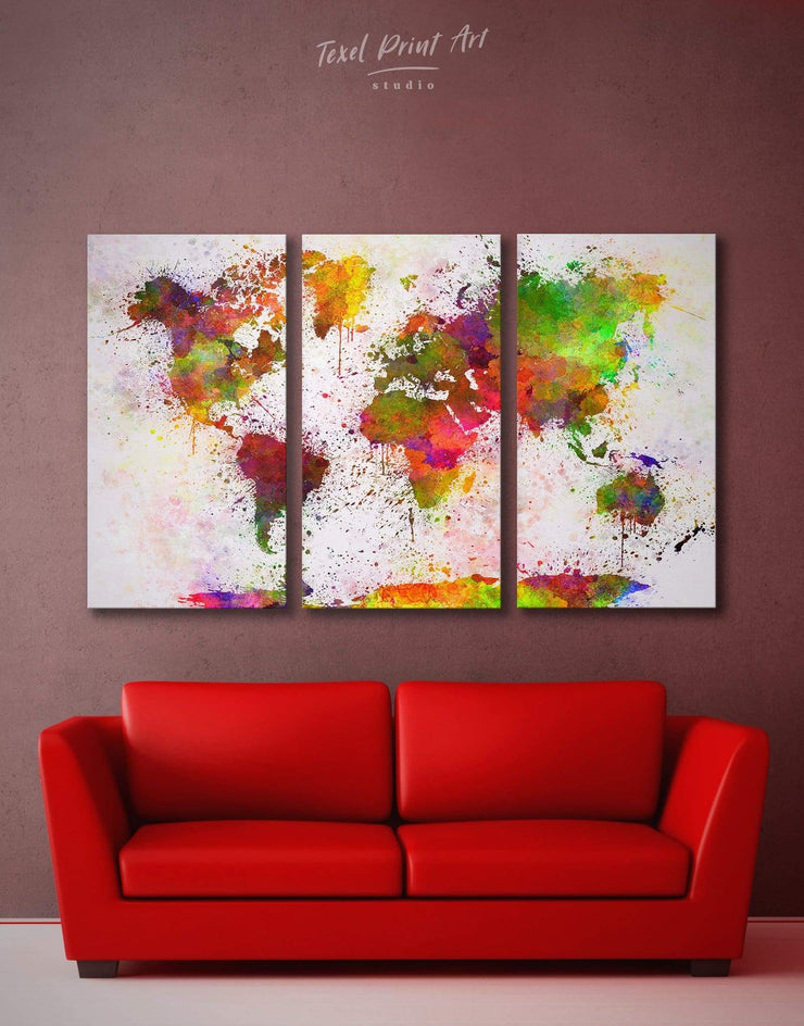 3 Panels Splash Abstract Map Wall Art Canvas Print - 3 Panels bedroom Hallway Living Room living room wall art
