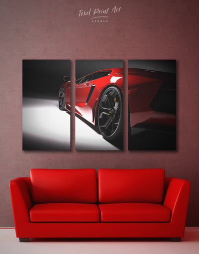 3 Panels Sport Car Wall Art Canvas Print - 3 Panels bachelor pad bedroom Black Car