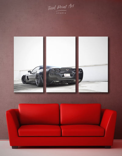 3 Panels Sports Car Wall Art Canvas Print - 3 Panels bachelor pad black and grey wall art black and white wall art car
