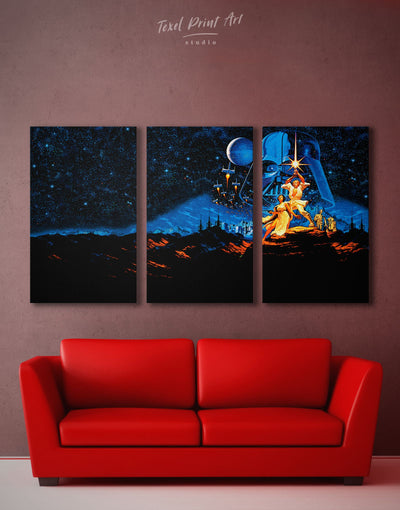 3 Panels Star Wars Fan Art Wall Art Canvas Print - 3 Panels bachelor pad bedroom Black Blue