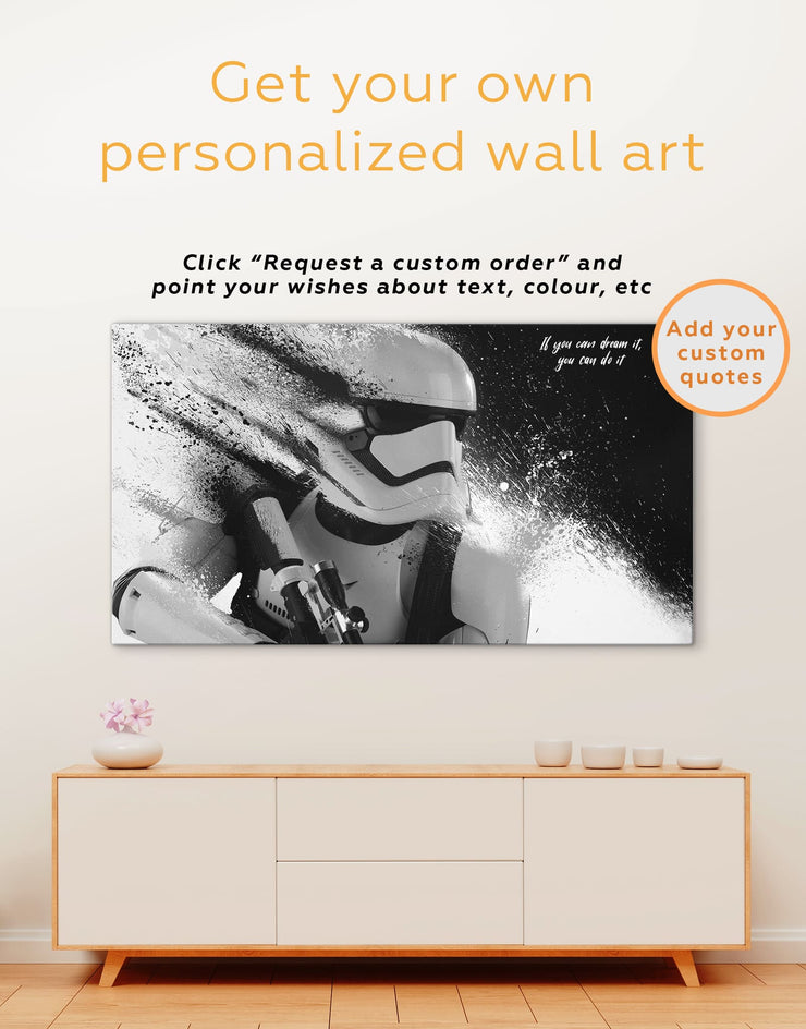 3 Panels Star Wars Stormtrooper Wall Art Canvas Print - 3 Panels bedroom Black black and white wall art Living Room