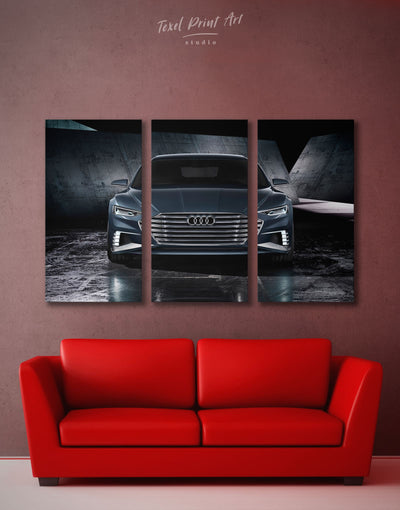 3 Panels Steel Audi A8 Wall Art Canvas Print - 3 Panels bachelor pad black car garage wall art
