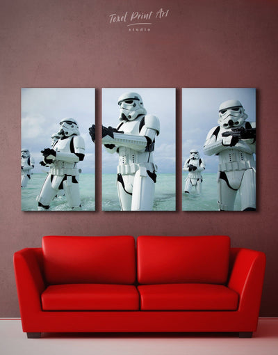 3 Panels Stormtrooper Wall Art Canvas Print - 3 Panels bachelor pad bedroom Black Blue
