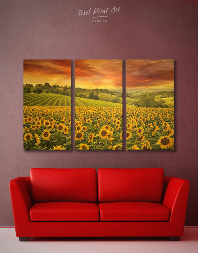 3 Panels Sunflower Wall Art Canvas Print - 3 Panels bedroom Hallway Kitchen landscape wall art