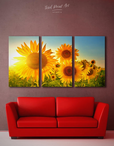 3 Panels Sunflowers Field Wall Art Canvas Print - Canvas Wall Art 3 Panels bedroom flora Floral flower