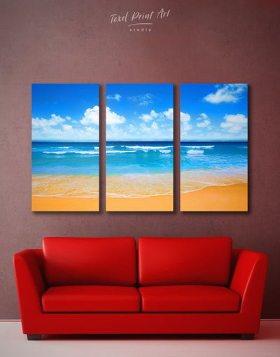 3 Panels Sunny Seascape Wall Art Canvas Print - 3 Panels Beach House beach wall art beach wall art for bathroom bedroom