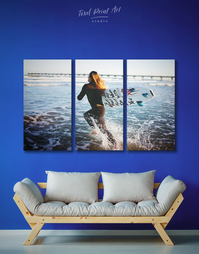 3 Panels Surfing Wall Art Canvas Print - 3 Panels inspirational wall art Living Room Motivational ocean wall art