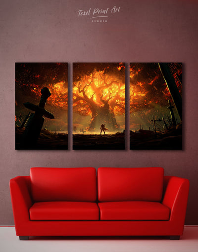 3 Panels Teldrassil Battle Wall Art Canvas Print - Canvas Wall Art 3 Panels bachelor pad bedroom Hallway Living Room