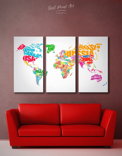 3 Panels Text World Map Wall Art Canvas Print - 3 Panels Abstract map Labeled world map Living Room minimalist wall art