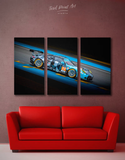 3 Panels Touring Car Racing Wall Art Canvas Print - 3 Panels bachelor pad black blue car