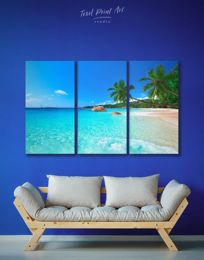 3 Panels Tropical Beach Wall Art Canvas Print - 3 Panels beach wall art bedroom Blue blue wall art for bedroom