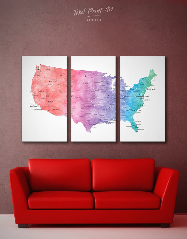 3 Panels USA Bright Map Wall Art Canvas Print - 3 Panels bedroom Blue contemporary wall art Country Map