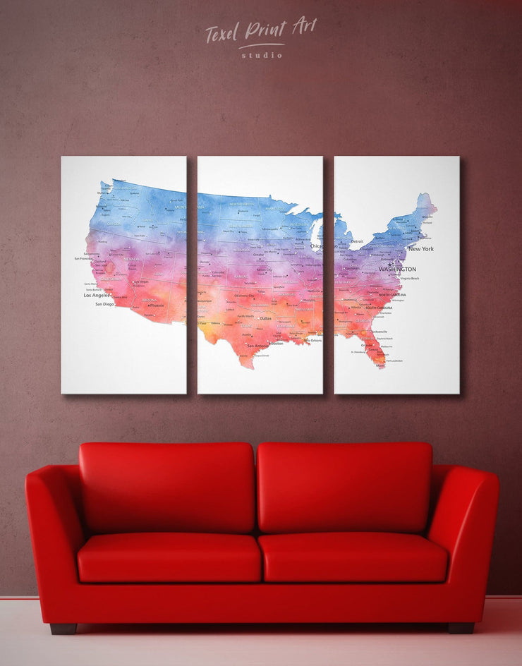 3 Panels USA Colorful Map Wall Art Canvas Print - 3 Panels bedroom Blue contemporary wall art Country Map