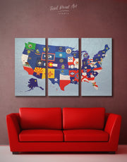 3 Panels USA Flags Map Wall Art Canvas Print
