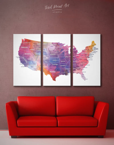 3 Panels USA Watercolor Map Wall Art Canvas Print - 3 Panels bedroom Hallway Living Room Office Wall Art