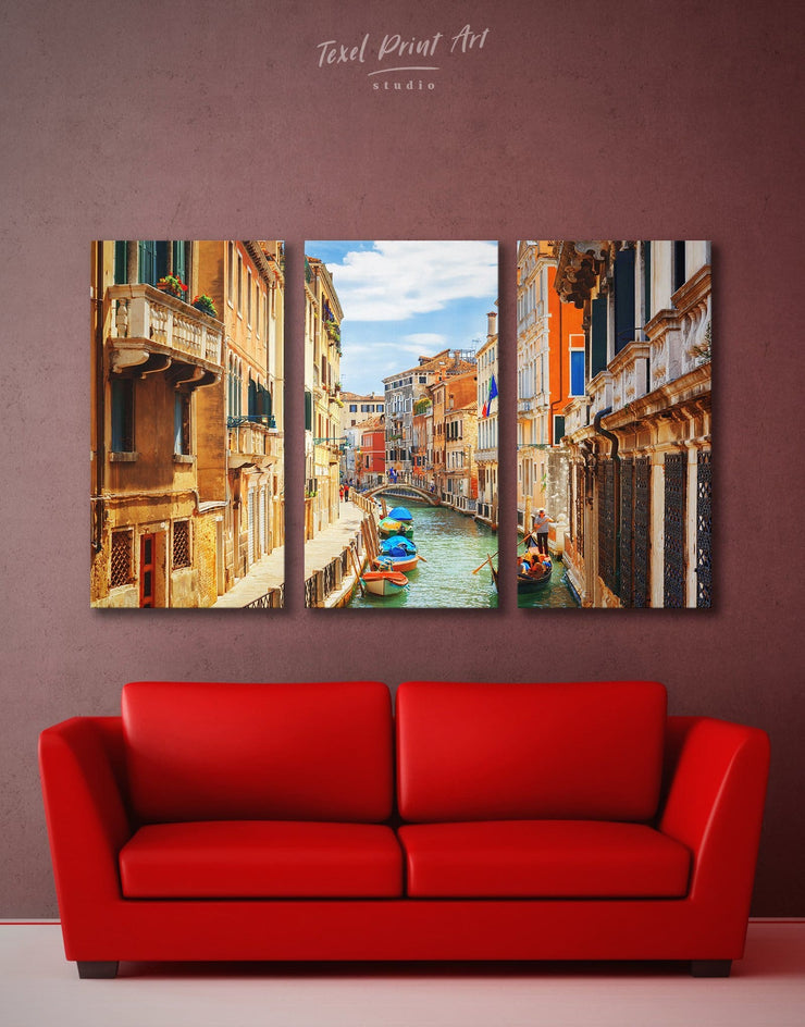 3 Panels Venice Skyline Wall Art Canvas Print - 3 Panels bedroom City Skyline Wall Art Cityscape Italy wall art