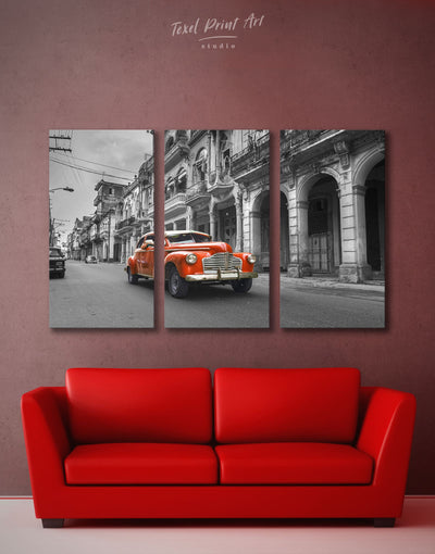 3 Panels Vintage Car Wall Art Canvas Print - 3 Panels Car garage wall art Hallway Living Room