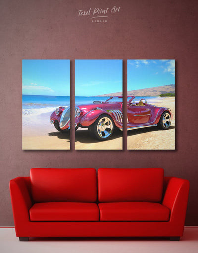 3 Panels Vintage Red Car Wall Art Canvas Print - 3 Panels bachelor pad bedroom blue car