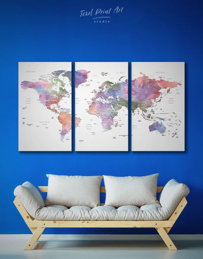 3 Panels Violet Watercolor World Map Wall Art Canvas Print - 3 Panels Contemporary contemporary wall art Living Room Office Wall Art