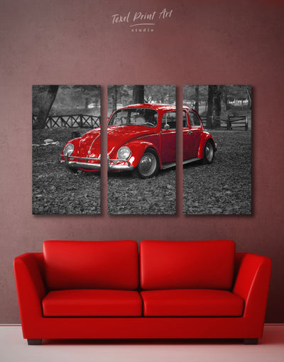 3 Panels Volkswagen Beetle Red Car Wall Art Canvas Print - 3 Panels bachelor pad car garage wall art Grey