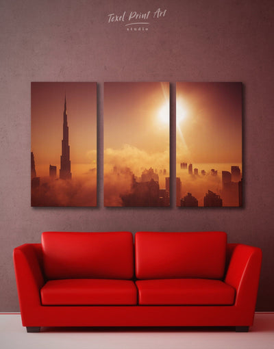 3 Panels Wall Art Dubai Cityscape Canvas Print - 3 Panels bedroom City Skyline Wall Art Cityscape Dubai