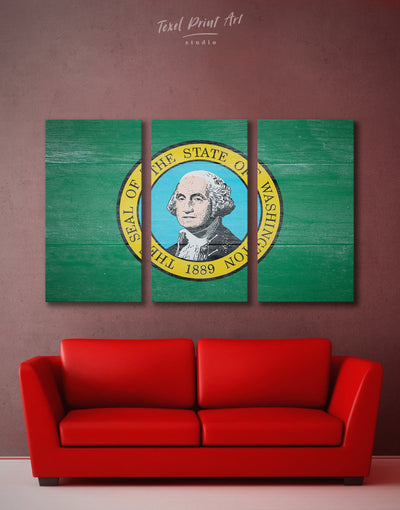 3 Panels Washington State Flag Wall Art Canvas Print - 3 Panels flag wall art green Hallway Living Room