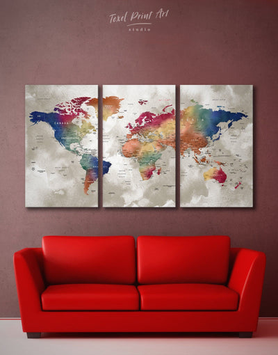 3 Panels Watercolor World Map Wall Art Canvas Print - 3 Panels bedroom Blue brown contemporary wall art