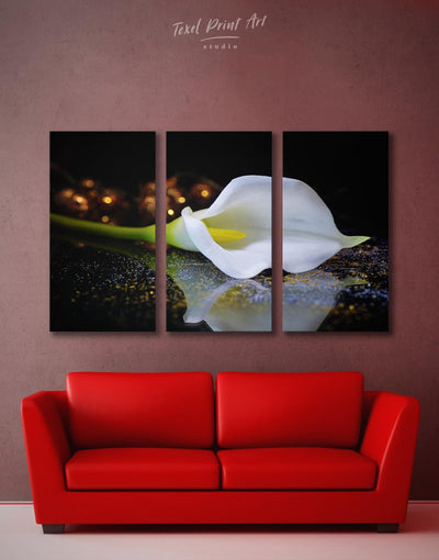 3 Panels White Lily Wall Art Canvas Print - Canvas Wall Art 3 Panels bedroom flora Floral flower