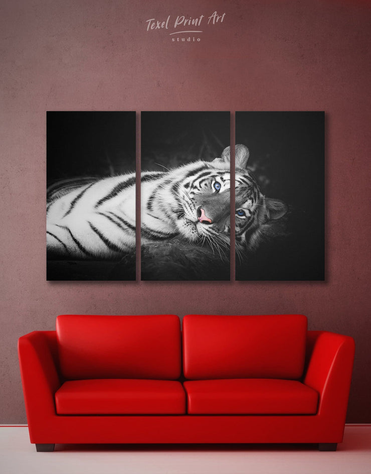 3 Panels White Tiger Wall Art Canvas Print - 3 Panels Animal Animals bedroom black